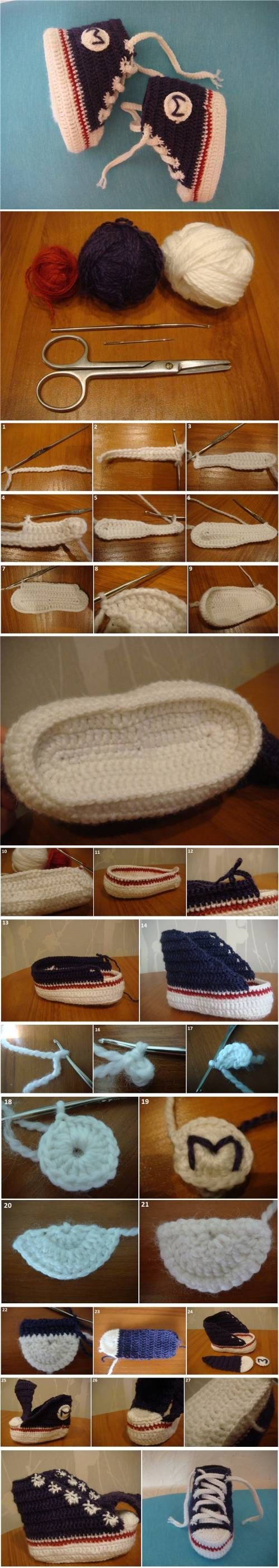 How to DIY Sneaker Style Crochet Baby Booties | iCreativeIdeas.com Follow Us on Facebook --> https://www.facebook.com/icreativeideas