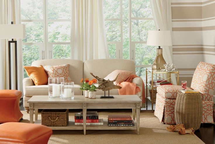 Living Room Shop By Room Ethan Allen I Love The Orange Accent Color With