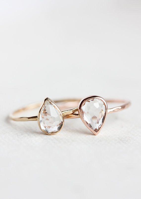 White topaz pear cut engagement ring rose gold by BelindaSaville