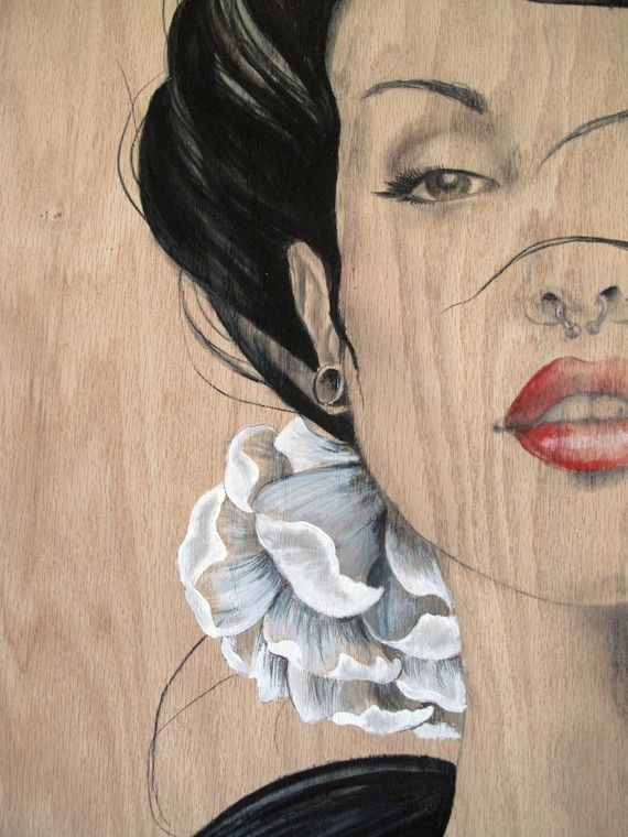 Puro RockNRoll Pin up 3D Antler art Large Original painting on plywood -Etsy