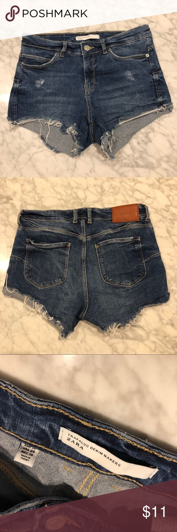 Zara Distressed Jean Shorts Sz 4 EUC Distressed Jean Shorts - 5 pocket style - Trafaluc line at Zara - Size 4  SHOPPING: Within 24 hours Zara Shorts Jean Shorts