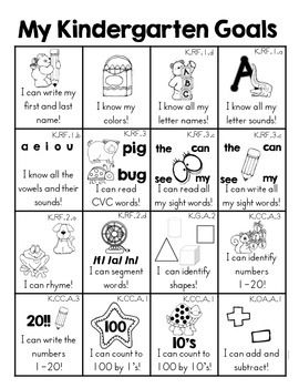 Kindergarten Goals Homework Insert by Melissa Moran | Teachers Pay Teachers also available full color, but I'd rather print in b&w and let the student color as he masters each task.