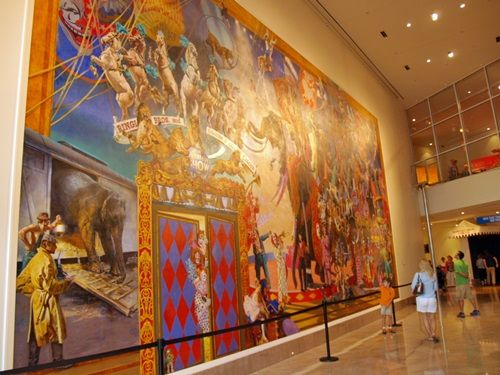 """The Greatest Show On Earth"" Mural in the entryway to the Ringling Circus Museum"