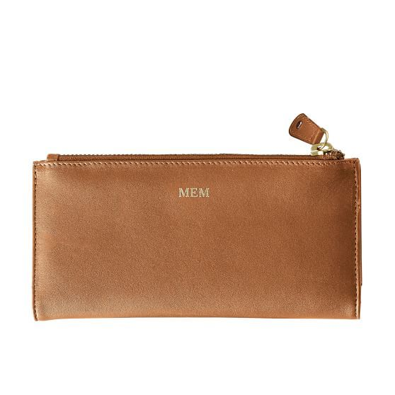 Skinny Wallet | Mark and Graham - tan with CJA in gold