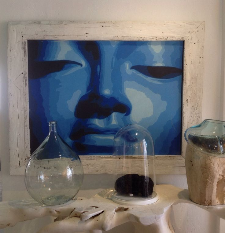 The color of the Aegean Sea, imprinted in a woman's face, oil on canvas with whitewashed recycled wood frame by Chora Art Home Design.