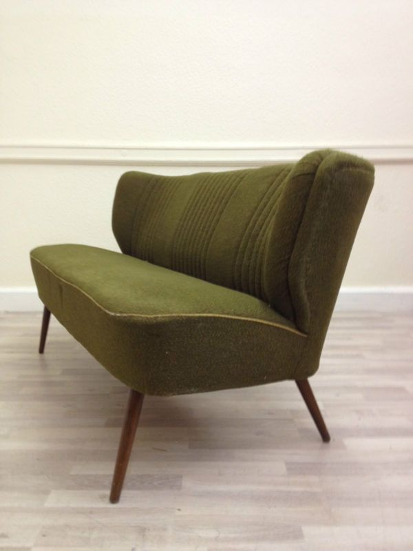 Original Vintage Sofa Couch Retro 40s 50s 60s 70s Antique Mid Century Deco Vintage Sofa Green