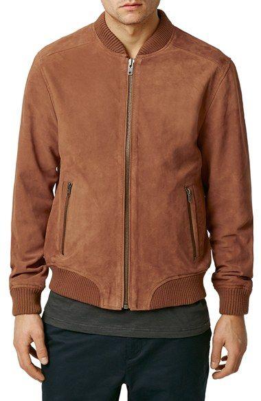 Topman Orange Suede Bomber Jacket available at #Nordstrom Not sure if Dark Orange or brown but still rad AF