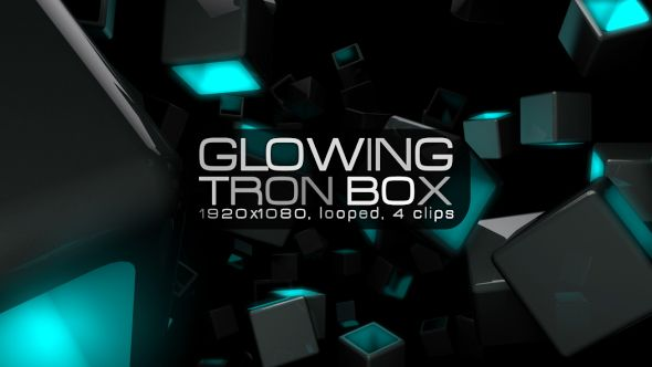 Glowing Tron Box Video Animation | 4 clips | Full HD 1920×1080 | Looped | Photo JPEG | Can use for VJ, club, music perfomance, party, concert, presentation | #blinking #box #cyan #disco #edm #flying #glow #green #loops #modern #music #rave #techno #tron #vj