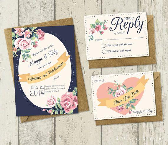DIY Printable Wedding Invitation  Fleur by LittleJoyDesigns, £15.00