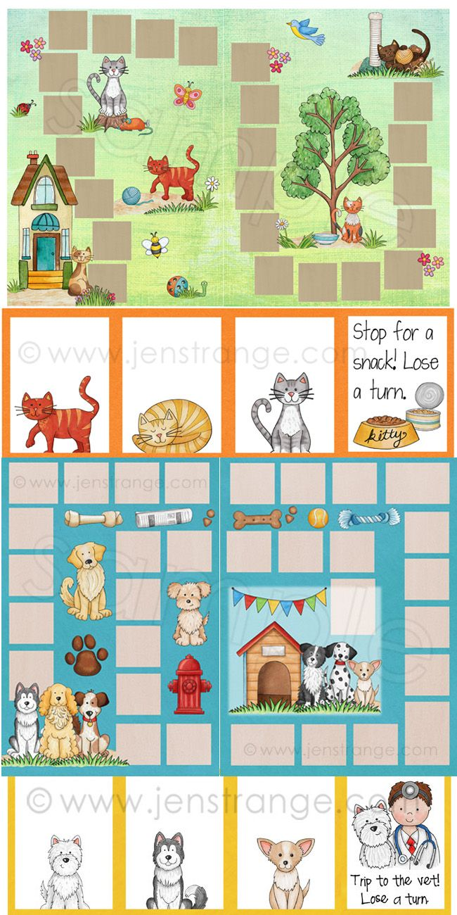 Cat and Dog themed Blank Board Games! Assemble these file folder games and customize the accompanying blank cards (fully editable) to whatever content fits your needs! #education #filefoldergame