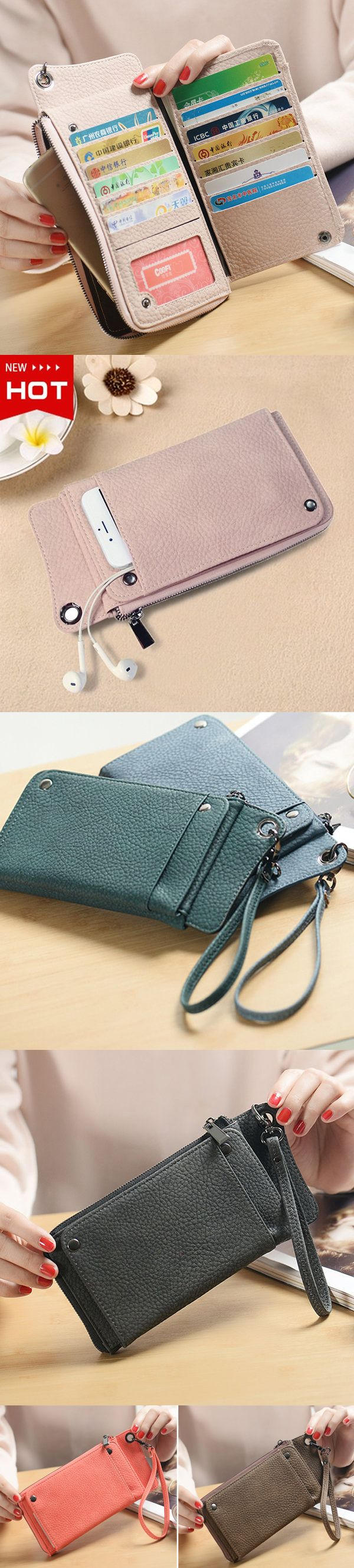 [$ 11.59]   Woman PU Card Wallet Phone Wallet 13 Card Slots Large Capacity Wristlet Wallet Purse