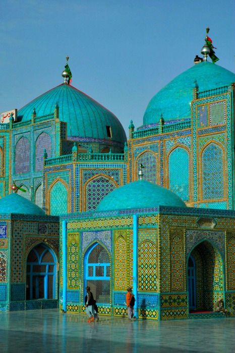 The magnificent Blue Mosque at Mazar e Sharif, in Herat, North Afghanistan, believed to be the burial ground of Ali Ibn Abi Talib, cousin and son in law of the Prophet Muhammad, and Islam's fourth caliph. Mazar-e-Sharif means Tomb of the Exalted. (V)