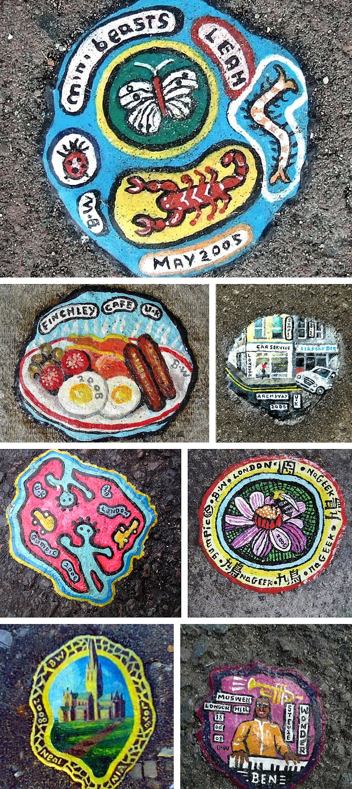 London, North: A selection of pavement chewing gum art by Ben Wilson. http://restreet.altervista.org/ben-wilson-dipinge-sulle-gomme-da-masticare/