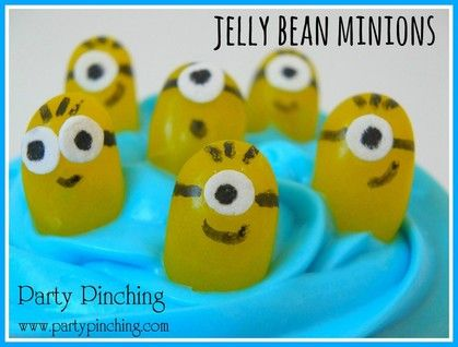 Minion cupcakes, Despicable Me cupcakes, minion candy, minion jelly beans, cute minions snacks, minion party ideas, despicable me party ideas