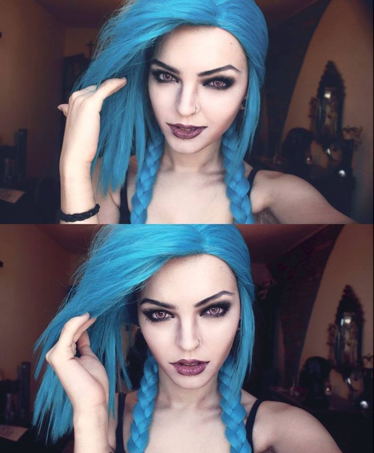 Awesome makeup made by Andrasta. Jinx makeup from League of Legends