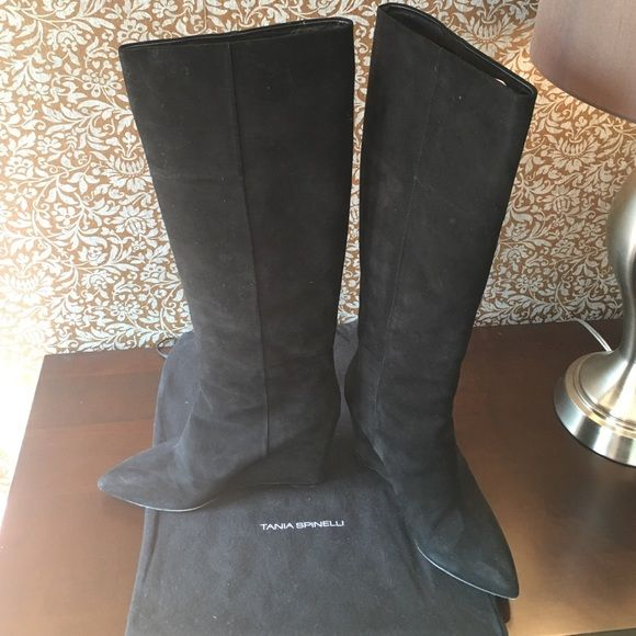 "Tania Spinelli black suede wedge boots Black suede. Pointed toe wedge boot. Boots are 19"" long. Size 39/9. Only wore them twice. They are very comfortable to wear. Tania Spinelli Shoes Heeled Boots"