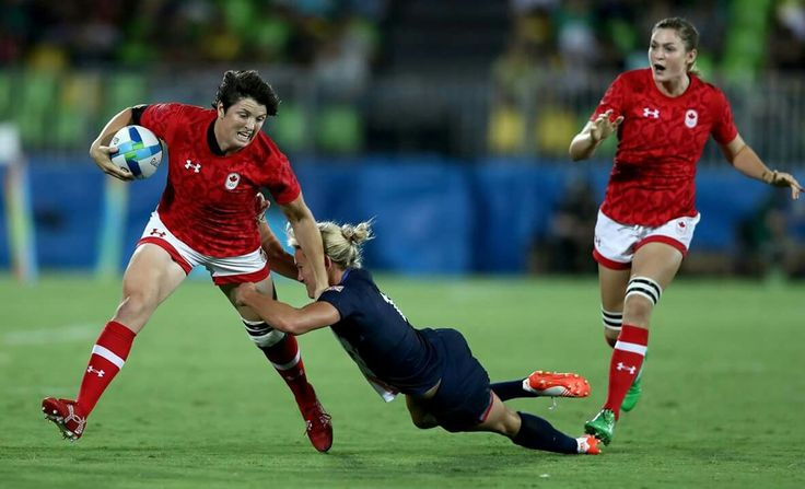 RIO DE JANEIRO, BRAZIL - AUGUST 08: Brittany Benn of Canada is tackled by Claire Allan of Great Britain during the Women's Bronze Medal Rugby Sevens match between Canada and Great Britain on Day 3 of the Rio 2016 Olympic Games at the Deodoro Stadium on August 8, 2016 in Rio de Janeiro, Brazil. (Photo by David Rogers/Getty Images)