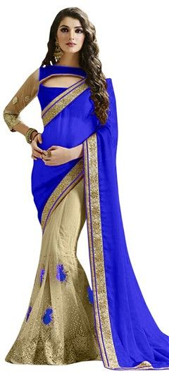 722983 Beige and Brown, Blue  color family Embroidered Sarees, Party Wear Sarees in Net fabric with Machine Embroidery, Resham, Thread work   with matching unstitched blouse.