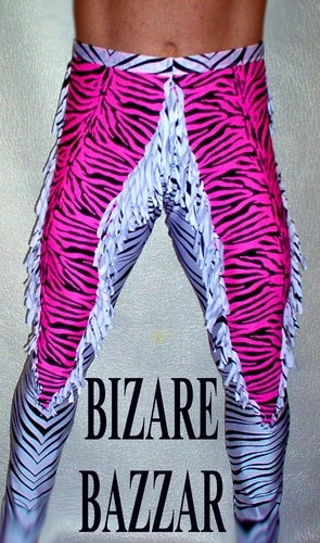 Pink-Zebra & White-Zebra Fringed Wrestling Tights. @Timothy Carradine