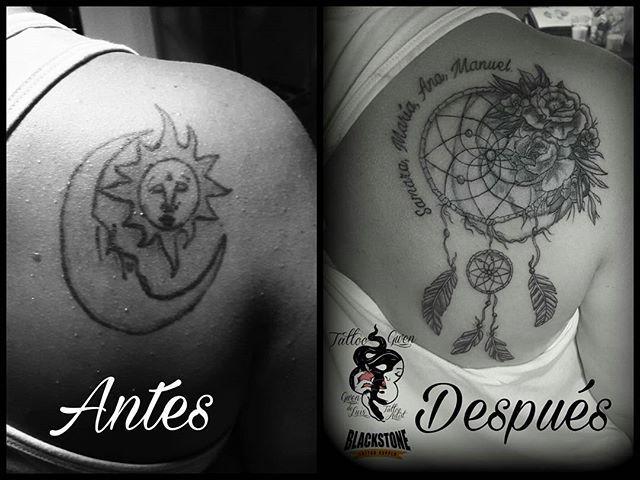 #coverup #cover #camufladoantiguotattoo #atrapasueños #atrapasueñostattoo #plumas #nombres #letras #tattoo #tattoos #tatuaje #tatuajes #instatattoo #tattooislife #tattooworld #yonkincrew #tattooinspiration #sevillatattoo #sevillaink #iloveink #ilovetattoo #tattoolifestyle #blackstonetattoosupply #gothic_rotulaciones #tattoogwen #gwendeluis #sevillatattooink #tattoogirls