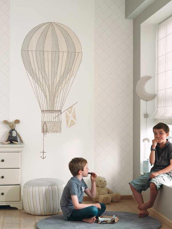 Globos en la pared: papel pintado,cenefas y telas