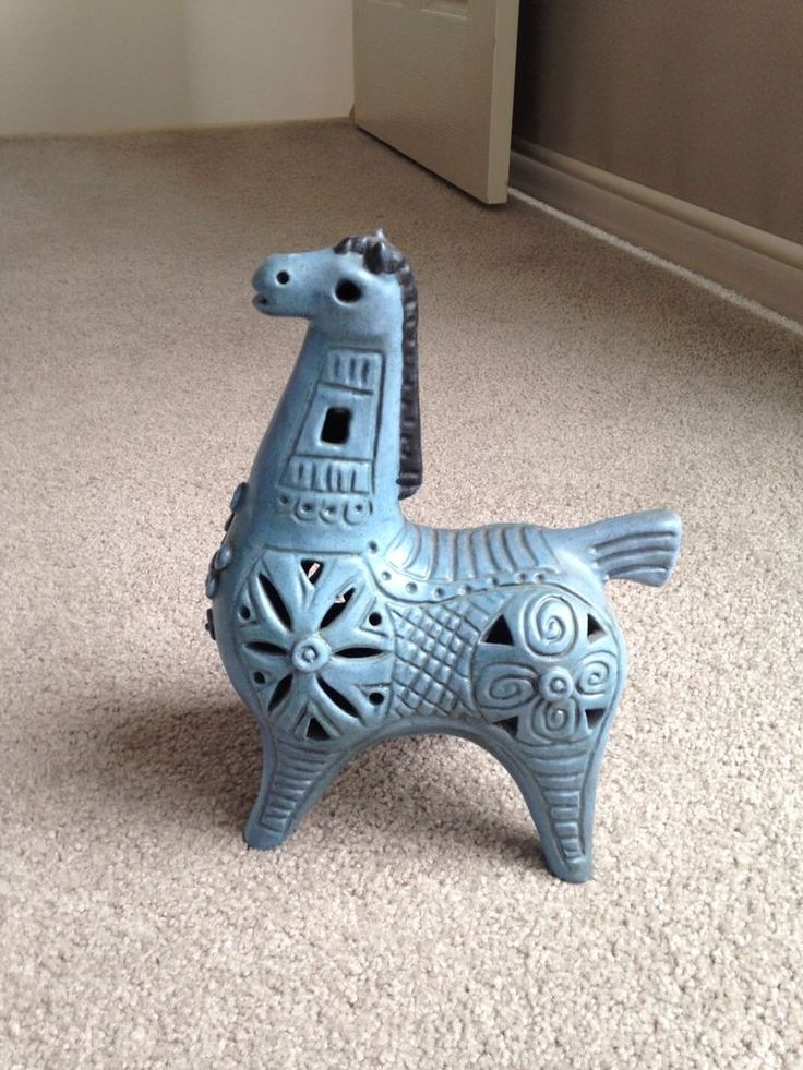 Gus McLaren Blue Trojan Horse - Perfect Condition - Australian Pottery