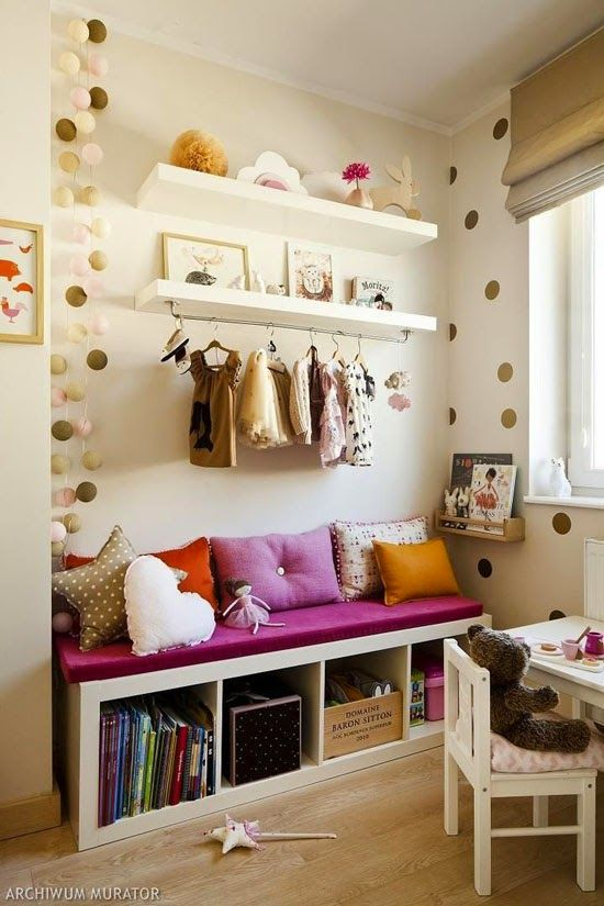 Pretty dotty reading corner bench with book storage from mommo design: IKEA HACKS FOR KIDS via www.designedforkids.co.uk