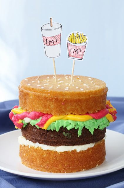 burger cake. for some reason I like stuff that resembles cheeseburgers.