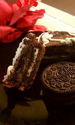Oreo Stuffed Brownies! I would say follow the oven temp and time in Melissa's recipe (325 and 11-14 min) as opposed to the box oven temp and time (Melissa says you can do either, but I suggest the lower temp and time) otherwise they come out a tad overdone.