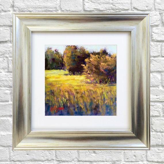 Original Pastel Painting Golden Field by Bluishpurpletrees on Etsy