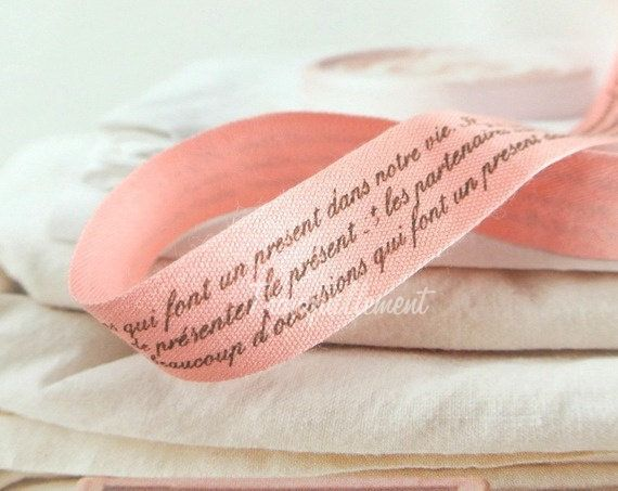 2 Yards Light Pink Brown French Script Words Typo Prints Gift