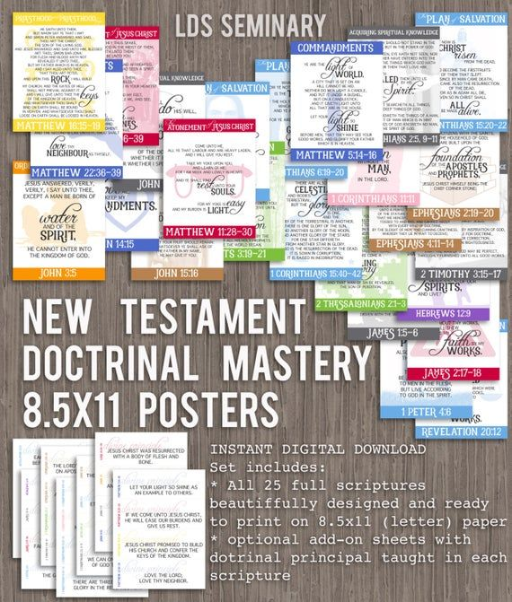 8.5x11 New Testament Doctrinal Mastery Posters for LDS