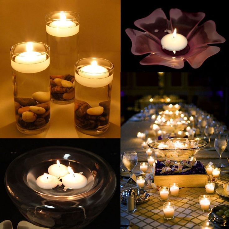 20pcs Round Water Floating Candle Disc Floater Candles Wedding Party Home Decor…