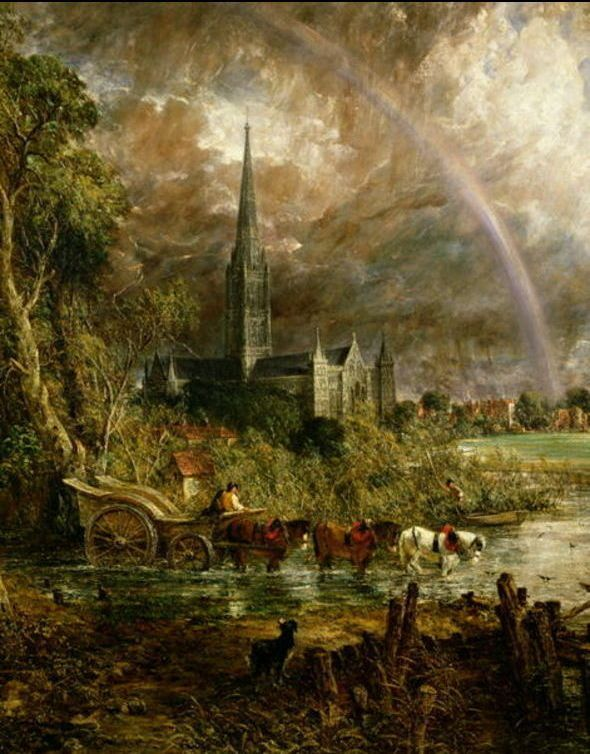 John Constable >> Salisbury Cathedral from the Meadows  |  (Oil, artwork, reproduction, copy, painting).
