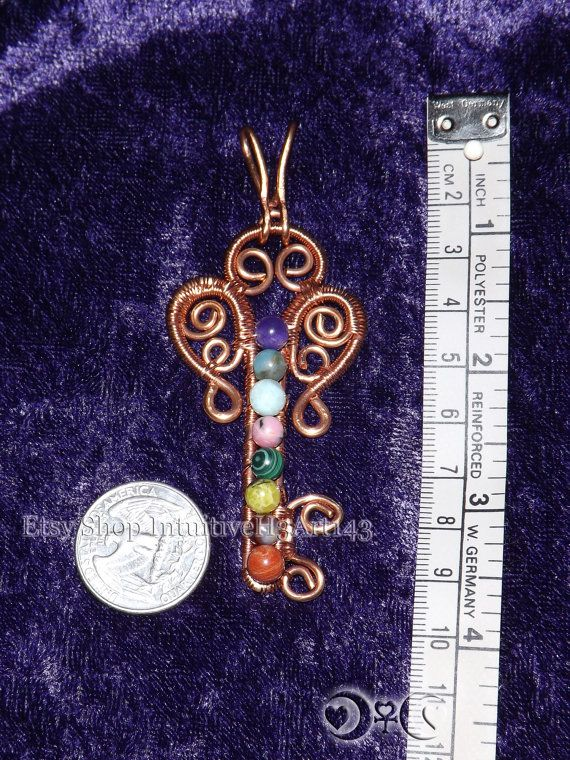 Copper 8 Chakra Key Pendant by IntuitiveH3Art143 on Etsy, $35.00