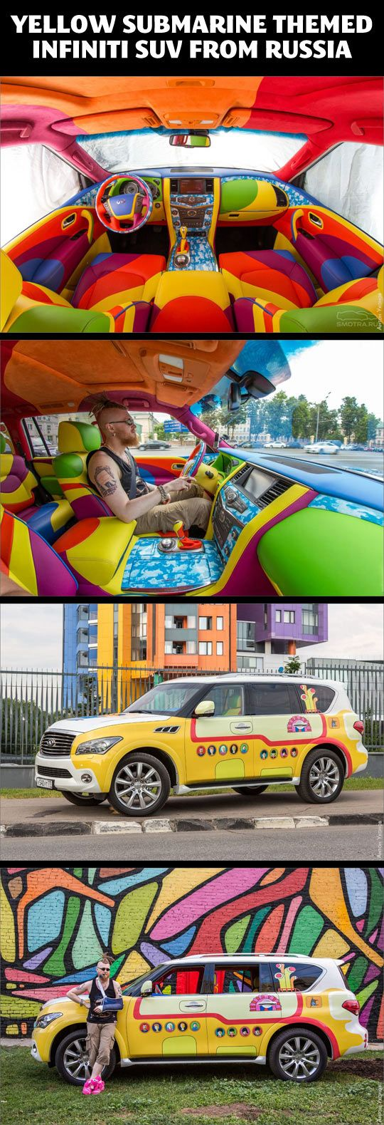 Yellow Submarine themed Infiniti SUV… I don't know where to pin this, so it shall be on the Funny Board.