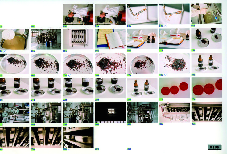 Contact sheet of the KORRES herb extraction facility.