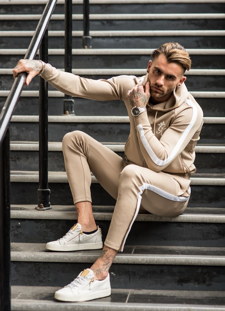 GK Tapered Poly Tracksuit Bottoms Sand