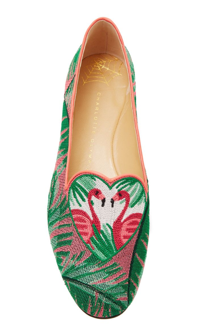 M'O Exclusive: Flamingo Embroidered Canvas Slippers by Charlotte Olympia