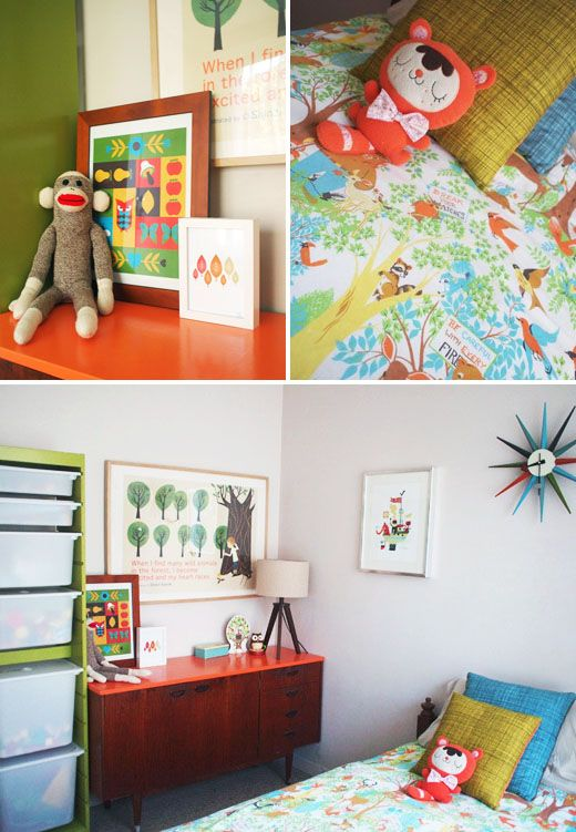 Cute child's midcentury modern room with colorful flare!