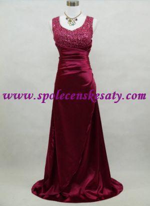 Červené vínové společenské plesové svatební šaty s flitrovaným topem vel. M L 42 44 46 č. . 2019