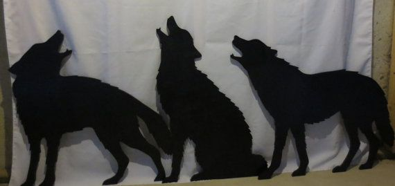 Wolf Pack, Set of 3 Wolves Life Size Outdoor Wood Yard Shadow, Silhouette, Yard Art, Lawn Decoration