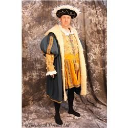 Henry VIII 8th Shakespeare Tudor Blue Gold Fancy Dress Hire Costume