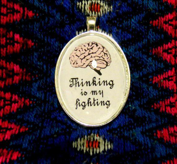 """Ciondolo pendente Virginia Woolf quotes """"Thinking is my Fighting"""" (pensare è la mia battaglia)  Cameo collana letteratura english literature"""