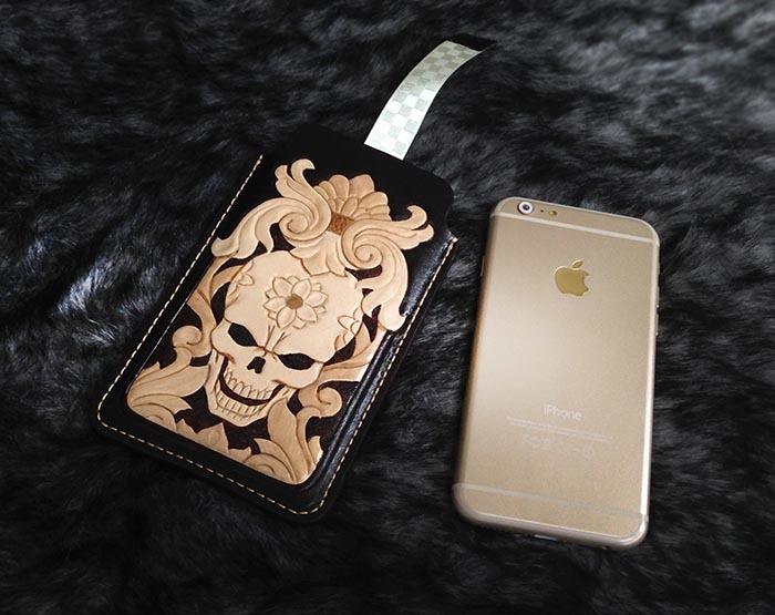 Flower Skull iphone 6 sleeve wallet case genuine leather handmade H09 #Handmade