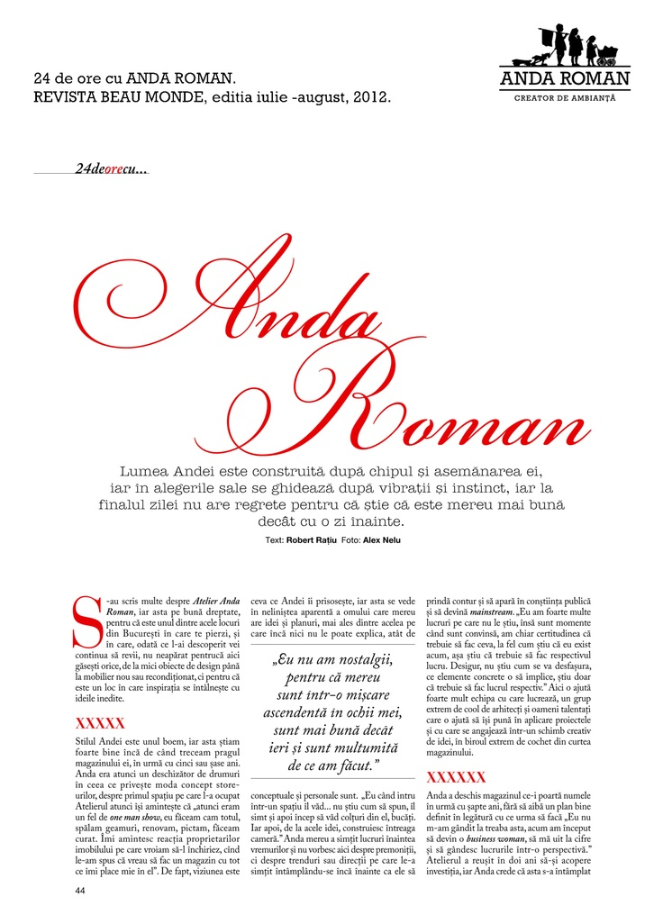 """Anda Roman, 24 hours"" - Beau Monde Magazine, July-August issues, 2012."