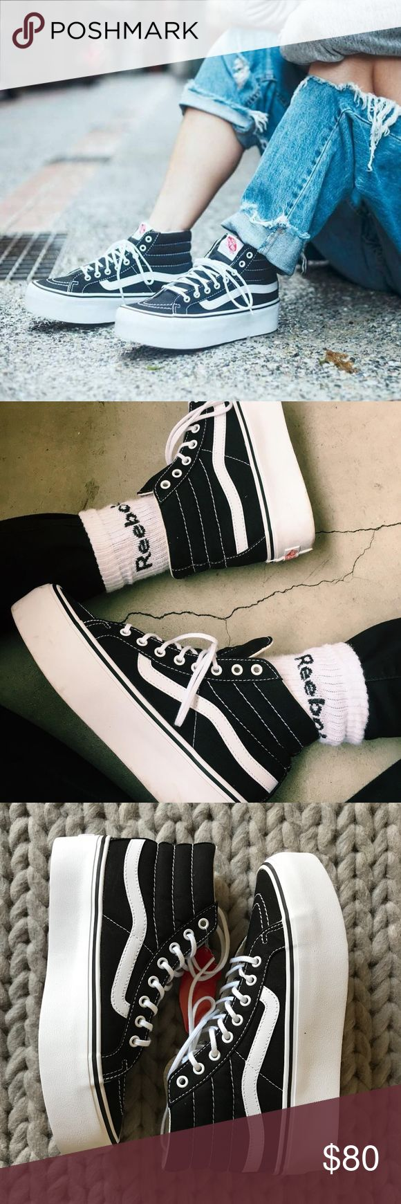 "Vans Sk8-Hi Platform Sneakers •On trend Vans Sk8 Hi Platform Sneakers. 1 1/2"" platform.  •Women's size 7.5, true to size.  •New in box with tags attached.  •No trades, no holds. PRICE IS FIRM, all offers will be automatically declined. Vans Shoes Sneakers"