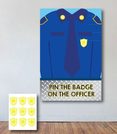 Pin the Badge on the Officer Poster; Paw Patrol party printable; pin the badge on Chase poster; police theme party printables