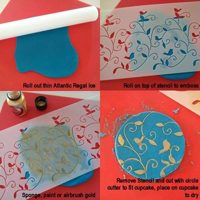 How to emboss in fondant using a stencil. Must try!