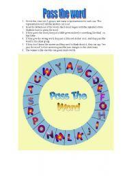 English worksheet: PASS THE WORD (PASAPALABRA)